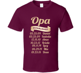 Opa Established Grandfather Since T Shirt Gift with names - Original James Tee