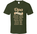 Opa Established Grandfather Since T Shirt Gift with names - Original James Tee  - 3