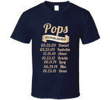 Pops Established Grandfather Since T Shirt Gift with names - Original James Tee