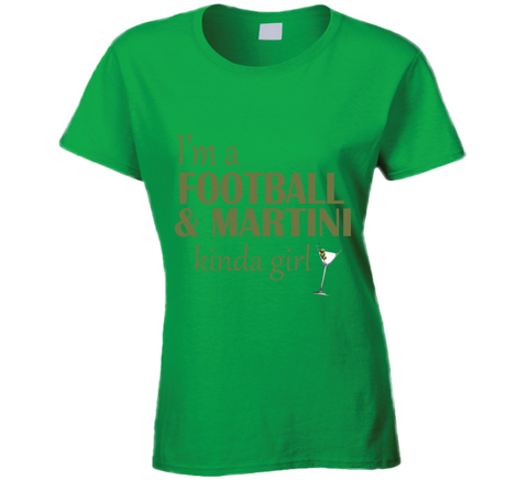 Football and Martini Kinda Girl T Shirt - Original James Tee