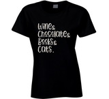 Wine and Chocolate and Books and Cats T Shirt - Original James Tee