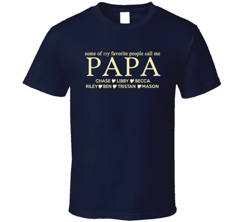 Papa T shirt with Grandkids Names - Original James Tee  - 1