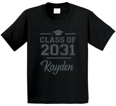 Class Of 2031 Graduation First day of Pre School Kindergarten Personalized With kid's Name T Shirt