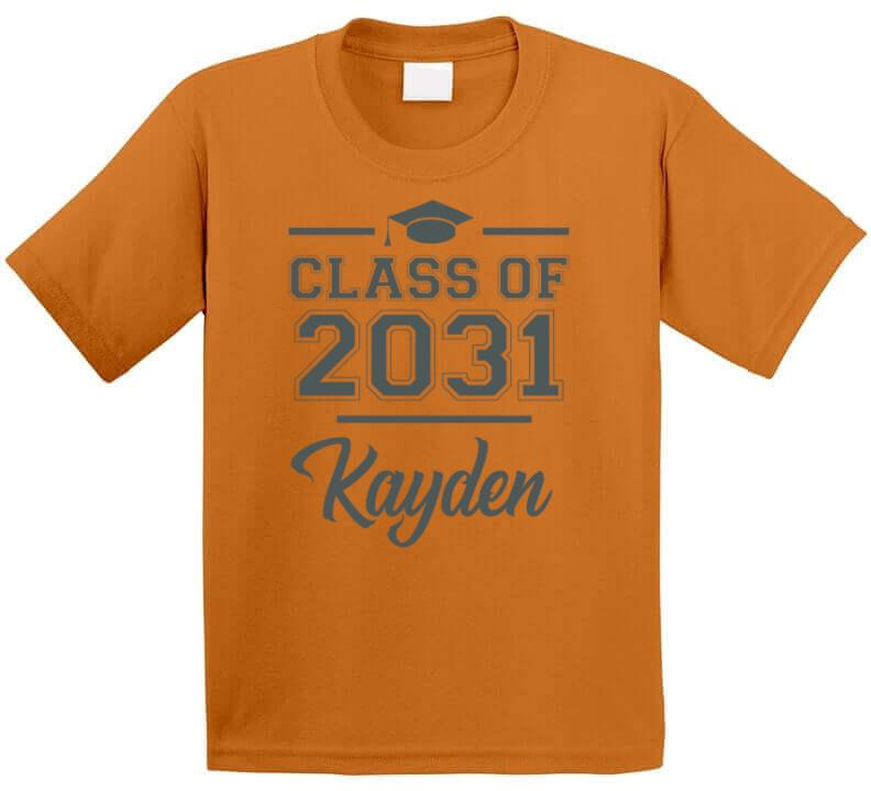 Class Of 2031 Graduation First day of Pre School Kindergarten Personalized With kid's Name T Shirt - Original James Tee