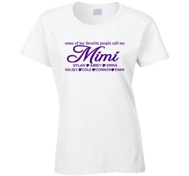 Mimi T Shirt with Grand Kid's Names - Original James Tee  - 1