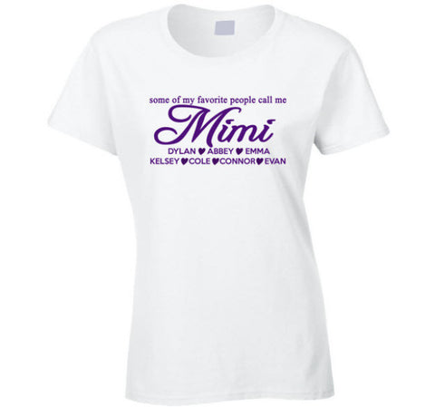 Mimi T Shirt with Grand Kid's Names gift for Mimi Gigi Nana Grandma Personalized - Original James Tee