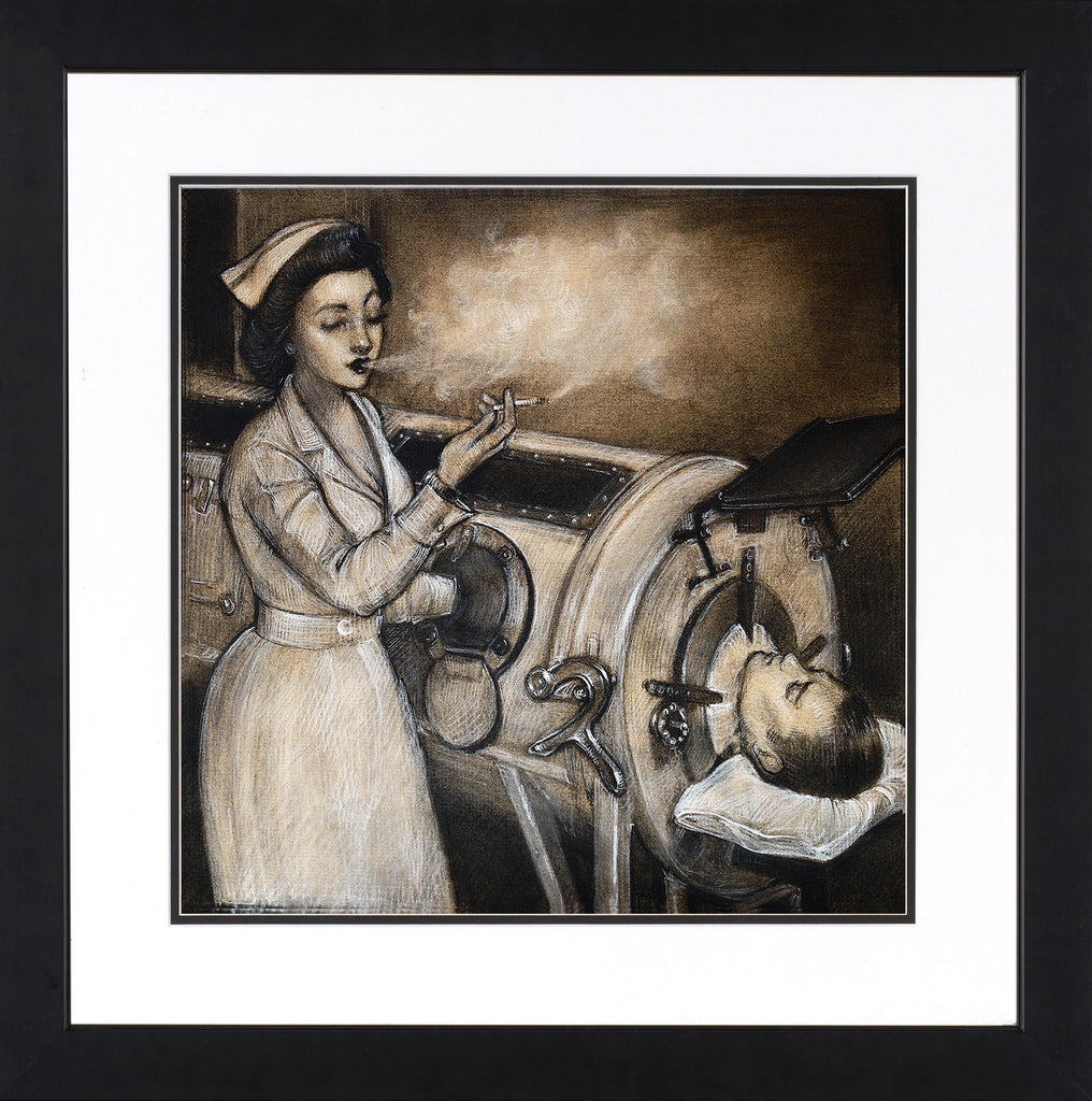 """Care for a Puff"" Study for Painting-Framed & Matted"