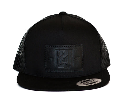 SnapBack Trucker Leather - All Black