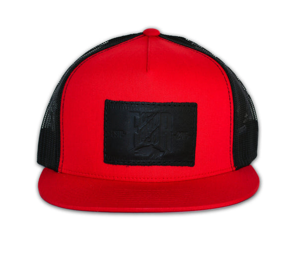 SnapBack Trucker Leather - Red , SnapBack Camionneur - Rouge