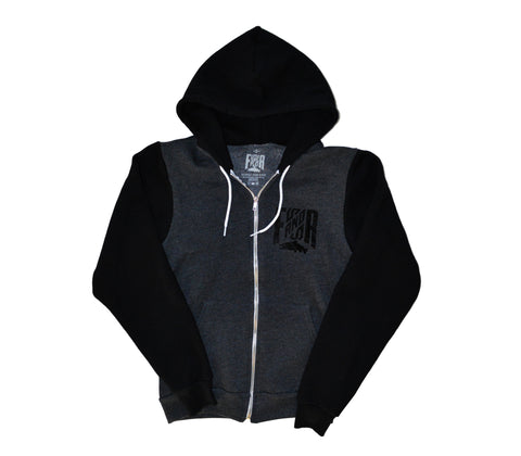 Zip Hoodie Dark Heather Grey/Black , Coton à capuche zippé - Gris/Noir