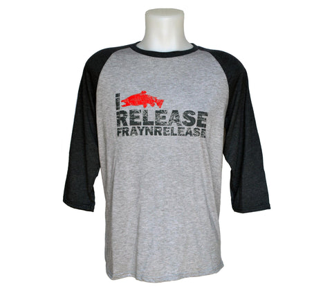 "Baseball Long Sleeve - I Release Dark Grey, Chandail Baseball  - ""I Release""  Gris foncé"