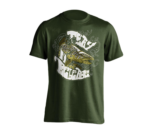 Brown Trout T-Shirt - Military Green, Chandail Truite Brune- Vert militaire