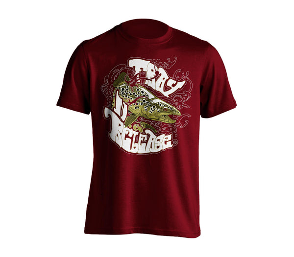 Brown Trout T-Shirt - Burgundy, Chandail Truite Brune- Bourgogne