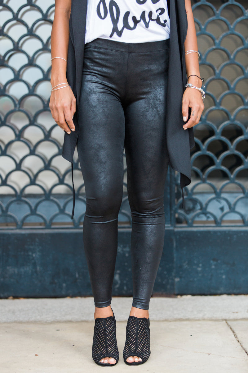 Lets Go Faux Suede Leggings - Black