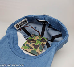 A Bathing Ape Ape Head Denim Dad Cap Blue/ White - RSRV - 3