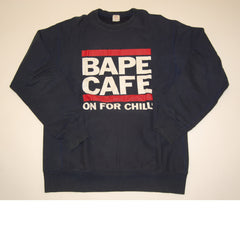 A Bathing Ape Bape Cafe Crewneck Sweatshirt Navy *Used* - RSRV - 1