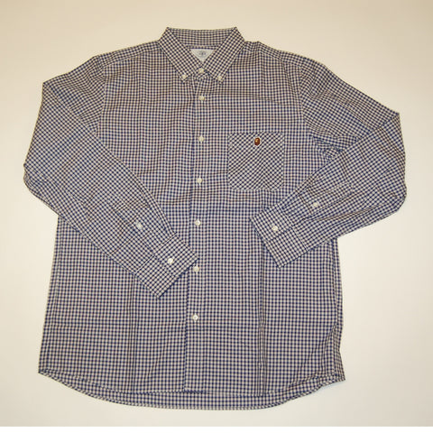 A Bathing Ape College Plaid Button Down Shirt Blue/ White *Used*