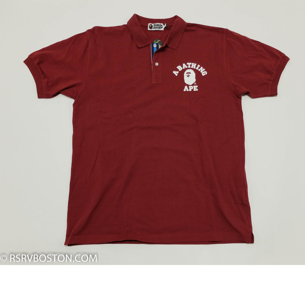 A Bathing Ape College Logo Polo Shirt Maroon/ White - RSRV - 1