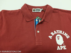 A Bathing Ape College Logo Polo Shirt Maroon/ White - RSRV - 3