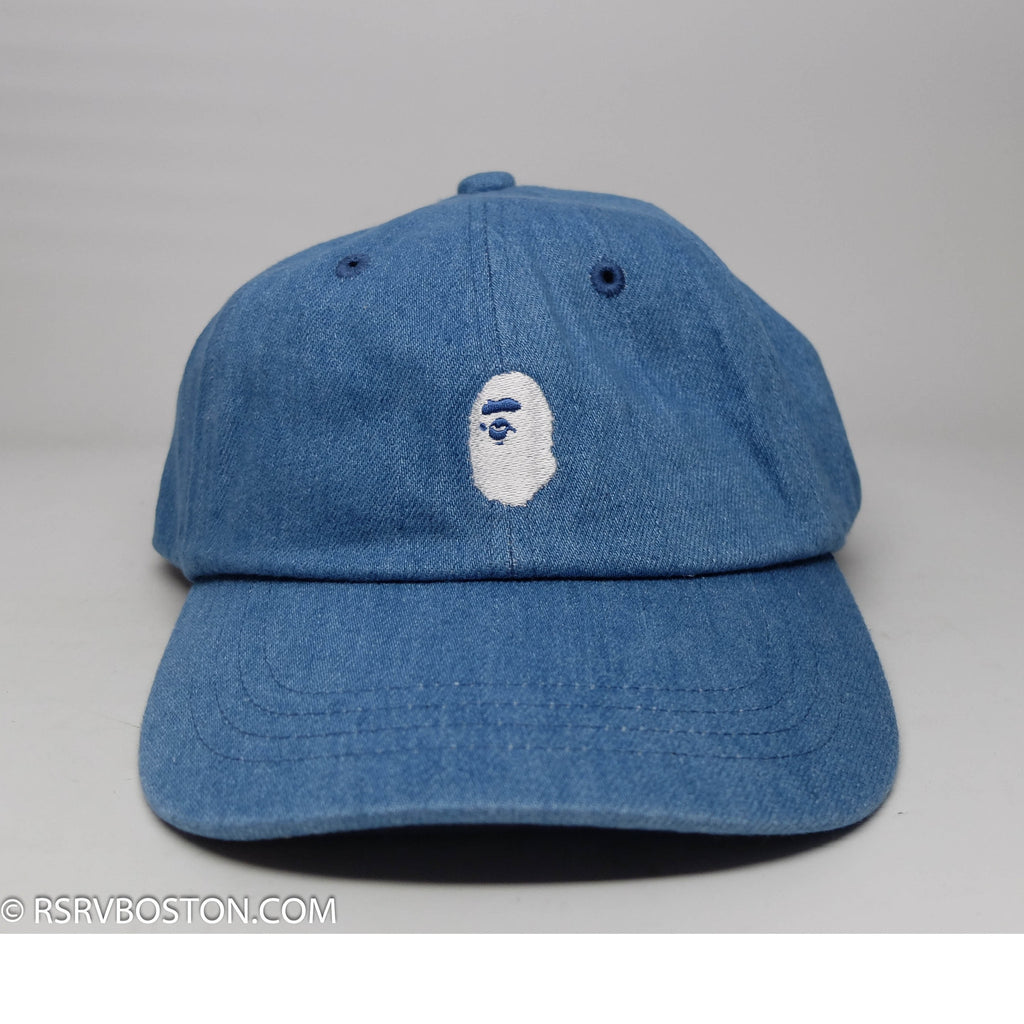 A Bathing Ape Ape Head Denim Dad Cap Blue/ White - RSRV - 1