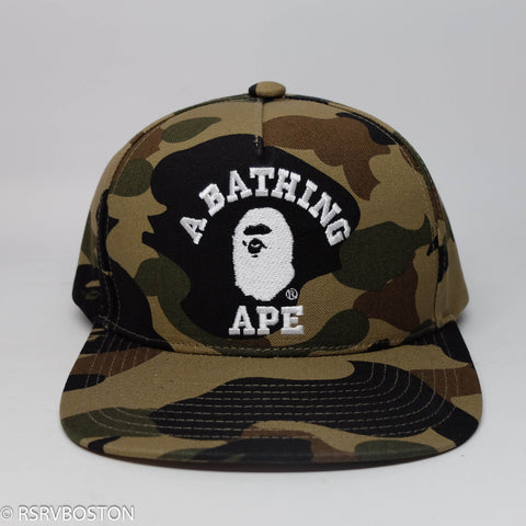 A Bathing Ape 1st Camo College Logo Snapback w/ Pin Green