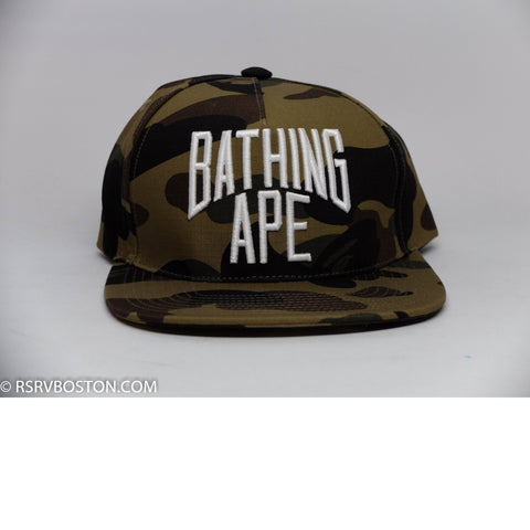 A Bathing Ape 1st Camo Nyc Logo Snap Back Hat Green