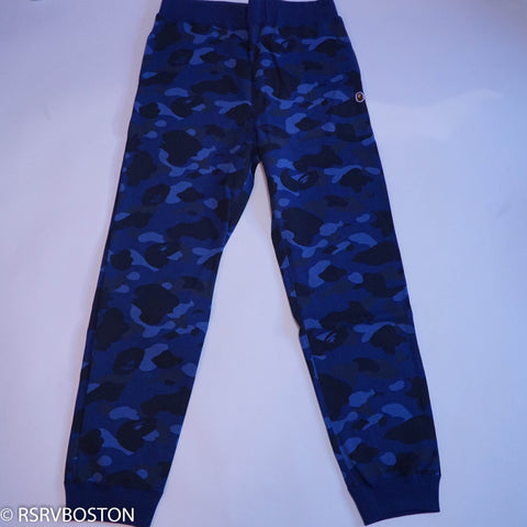 A Bathing Ape Slim Camo Sweatpants Blue