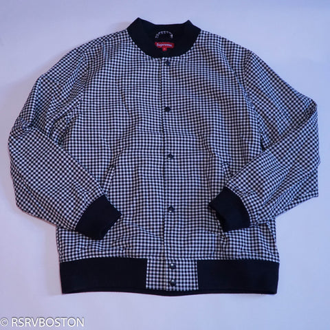 Supreme Plaid Bomber Jacket Black Houndstooth FW14