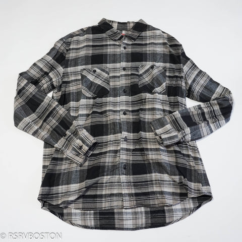 Supreme Flannel Button Up Shirt Black Grey White Plaid *USED*