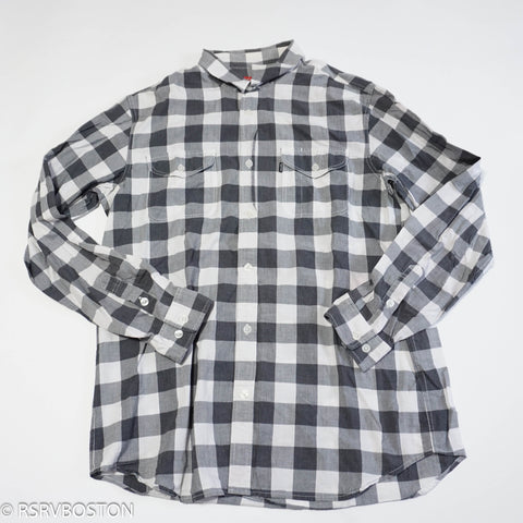 Supreme Button Up Shirt Black Grey White Plaid *USED*