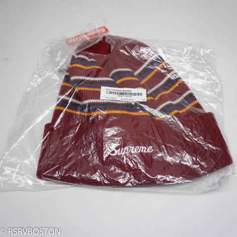 Supreme Multi Stripe Beanie Burgundy FW15