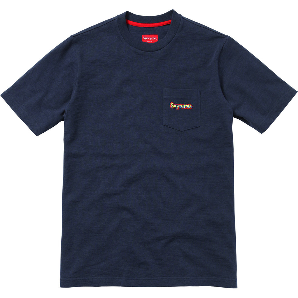 Supreme Embroidered Skate Pocket T Shirt Navy SS15 - RSRV