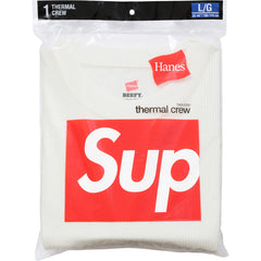 Supreme/ Hanes Thermal Crew Shirt Off White FW15 - RSRV - 3