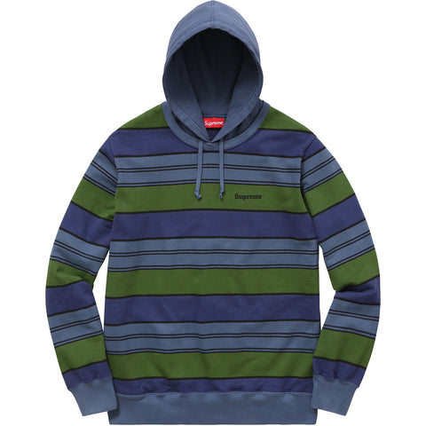 Supreme Striped Hooded Crewneck Sweatshirt Royal SS17