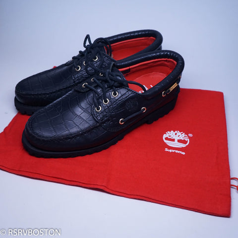 Supreme x Timberland 3 Eye Boat Shoes Black FW16