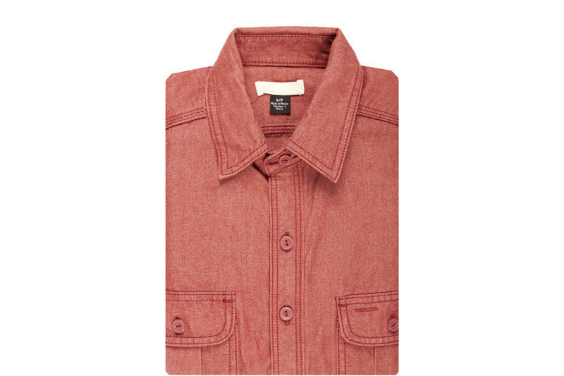 The Unbranded Brand UBS680 Red Selvedge Chambray Shirt - RSRV