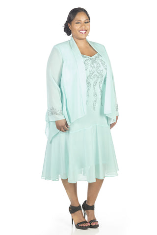 R&M Richards Women's Plus Size Beaded Jacket Dress - Mother of the Bride Dresses - SleekTrends - 1