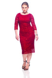 SleekTrends Women's Three Quarter Sleeve Sequin Lace Midi Sheath Dress - Party Dress