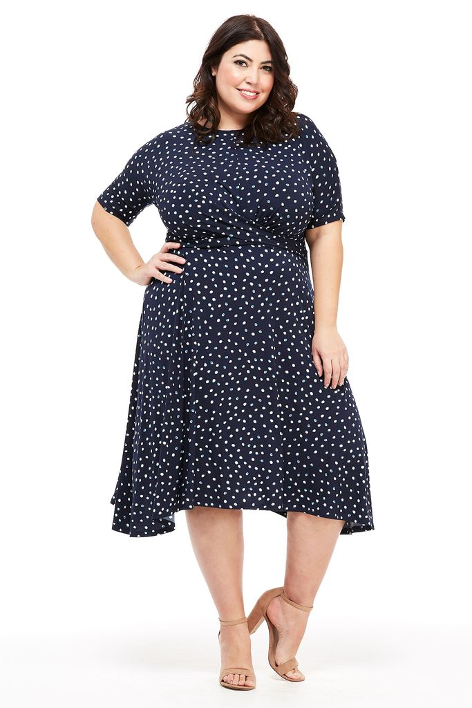 London Times Women's Plus Size Asymmetric Ruched Waist Fit and Flare Dress