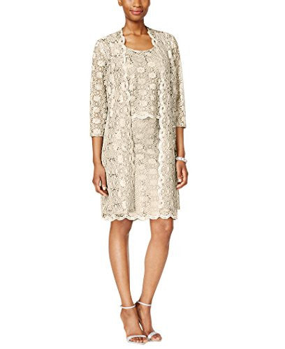 R&M Richards Womens 2 Piece Lace Sheath Jacket Dress - Mother Of the Bride Dresses - SleekTrends