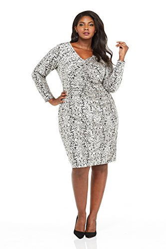 London Times Women's Plus Size Ruched Front Printed Velvet Sheath Dress