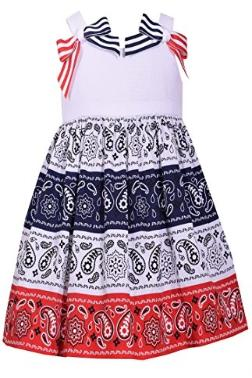 Bonnie Jean Little Girls 2T-6X Printed Patriotic Dress- Kids July 4th Party Dress