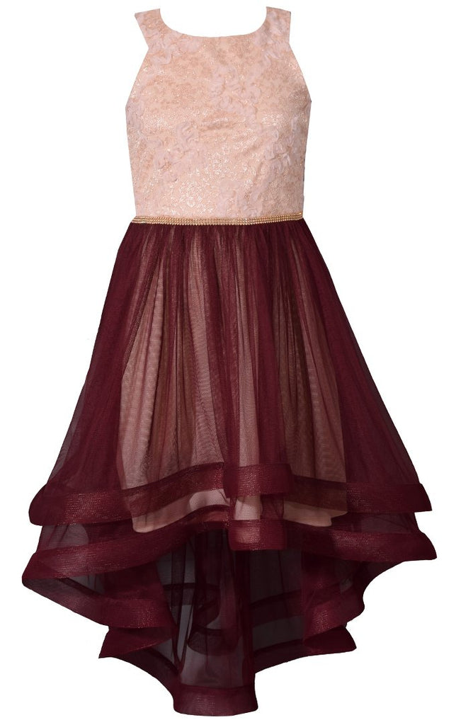 Bonnie Jean Big Girls 7-16 Lace to Tulle Holiday Party Dress