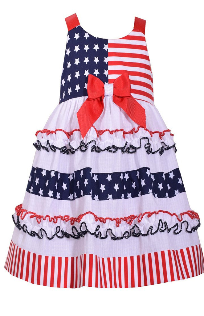 Bonnie Jean Little Girls 2T-6X Tiered Patriotic Dress- Kids July 4th Party Dress