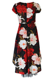 Bonnie Jean Big Girls 7-16 Short Sleeve Floral Scuba High low Holiday Dress