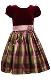 Bonnie Jean Big Girls 7-16 Velvet to Plaid Holiday Dress - Kids Holiday Dress
