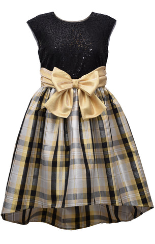 Bonnie Jean Big Girls 7-16 Gold Sequin Taffeta High Low Holiday Party Dress