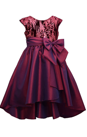 Bonnie Jean Big Girls 7-16 Burgundy Sequin Taffeta High Low Holiday Party Dress