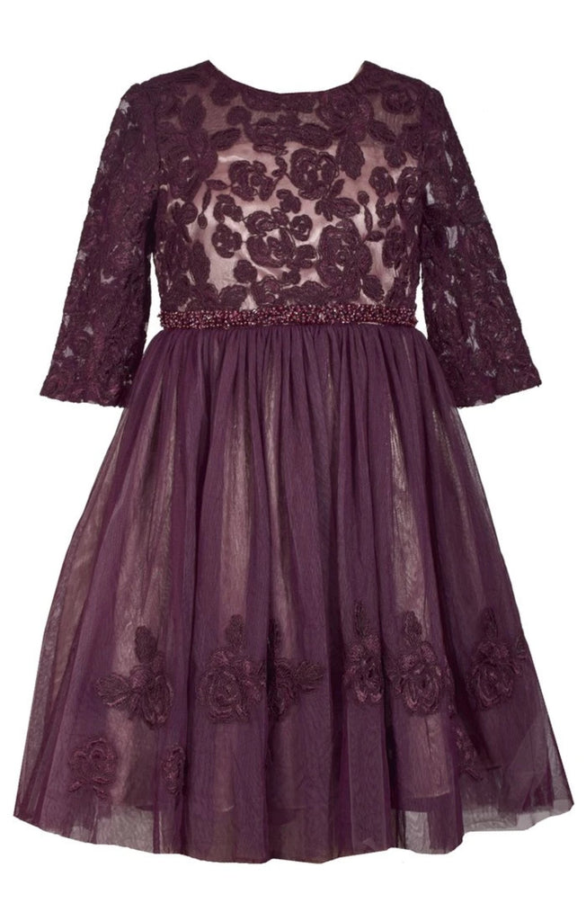 Bonnie Jean Big Girls 7-16 Beaded Waist Lace Tulle Holiday Party Dress