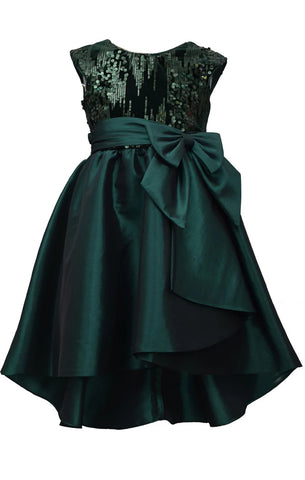 Bonnie Jean Big Girls 7-16 Sequin Taffeta High Low Holiday Party Dress
